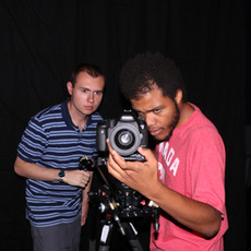 W. Trent Welstead (Director, Producer) and Mordecai Lecky (DP) compose the shot during 'The Photoshoot' sequence.