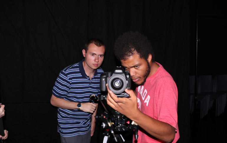 W. Trent Welstead (Director, Producer) and Mordecai Lecky (DP) compose the shot during 'The Photoshoot' sequence, on the set of Affection.