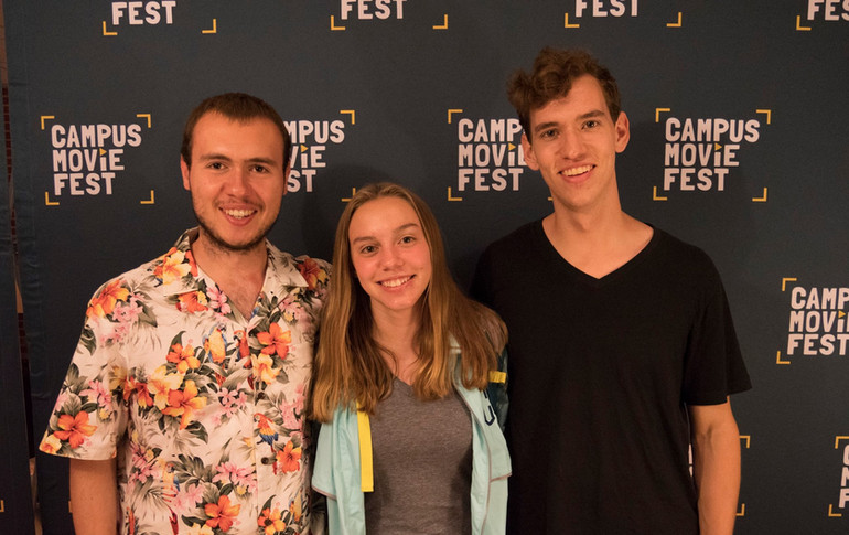 A few members of the cast and crew of Clock-Boy at the CampusMovieFest premiere at Virginia Tech. From left to right, W. Trent Welstead (Director, Producer), Shannon Clarke (Actress), and Mark Meardon (DP, Editor).