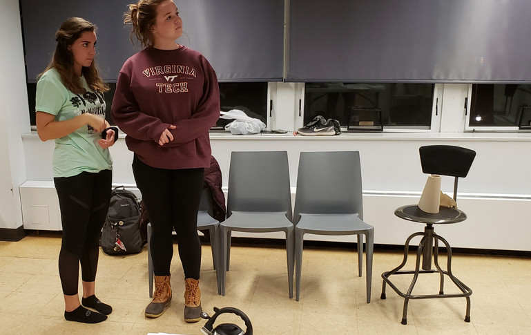 Sarah Hogan (Mary) and Sydney Kendrick (Mrs. Tilford) running through the scene during an early rehearsal.