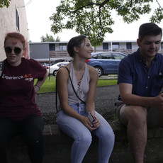 A few members of the cast and crew of Affection enjoy a brief break, in-between shots. From left to right, Claire Jessie (Sound), Molly McIntyre (Melissa), and Matt McDonough (Trey).