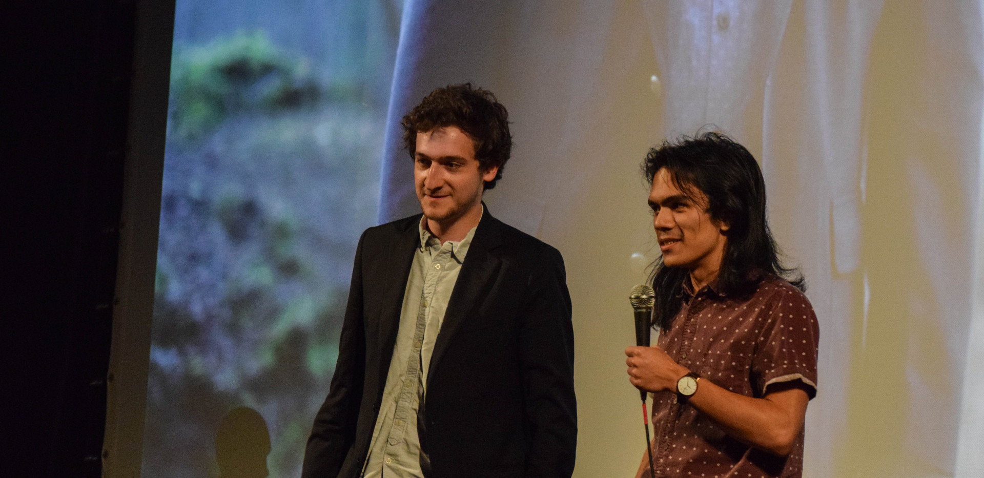 Matt Iglesias and Grant McMillan accept their Best Narrative Short Film Award for Against the Clock.