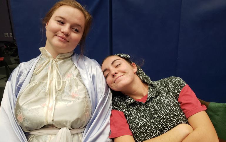 Sydney Kendrick (Mrs. Tilford) and Sarah Hogan (Mary) bond during rehearsal.