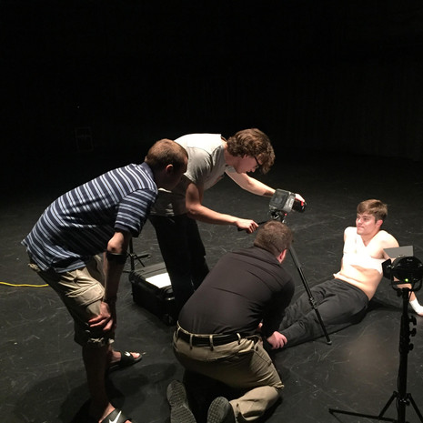 A few members from the cast and crew of The Rehearsal, preparing for a shot. From left to right, W. Trent Welstead (Director, Producer), Mark Meardon (DP, Editor), Alex Salvato (Key Grip), and Jackson Tindall (Actor).