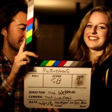 Thomas Morris (John) and Maggie Gough (Christina) enjoyint themselves in-between takes.