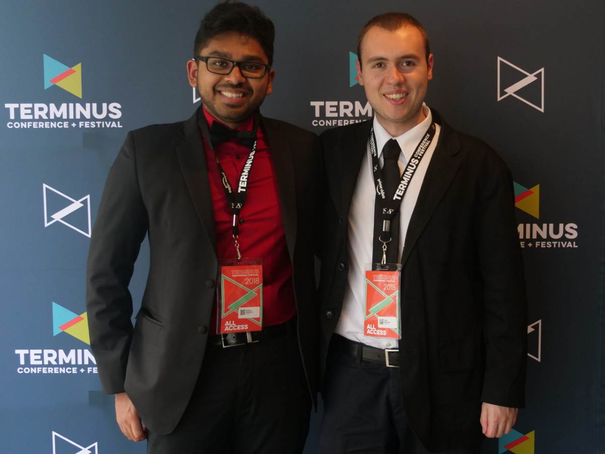 Virginia Tech students Adityha Saikumar and W. Trent Welstead at the TERMINUS Festival + Conference in Atlanta, Georgia for their films, In Time, and Clock-Boy, respectively.