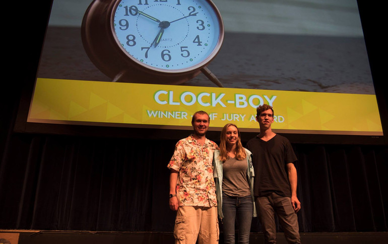 A few members of the cast and crew of Clock-Boy, accepting their Jury Award at the 2017 CampusMovieFest premiere at Virignia Tech. From left to right, W. Trent Welstead (Director, Producer), Shannon Clarke (Actress), and Mark Meardon (DP, Editor).