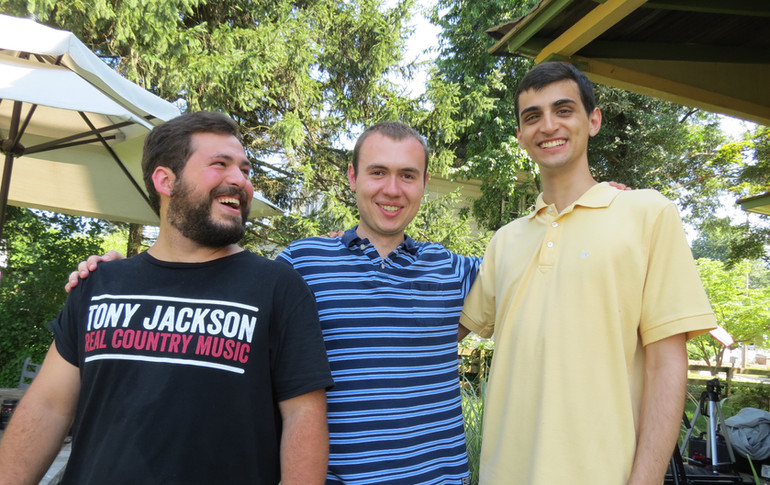 Films and friends. From left to right, Jared Hottle, W. Trent Welstead, and Kyle McLaughlin on the set of A Story Revealed.
