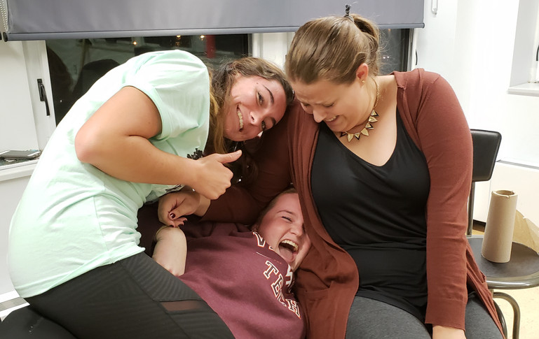 The cast bonds during an early rehearsal. From left to right, Sarah Hogan (Mary), Sydney Kendrick (Mrs. Tilford), and Emma Holland (Agatha).
