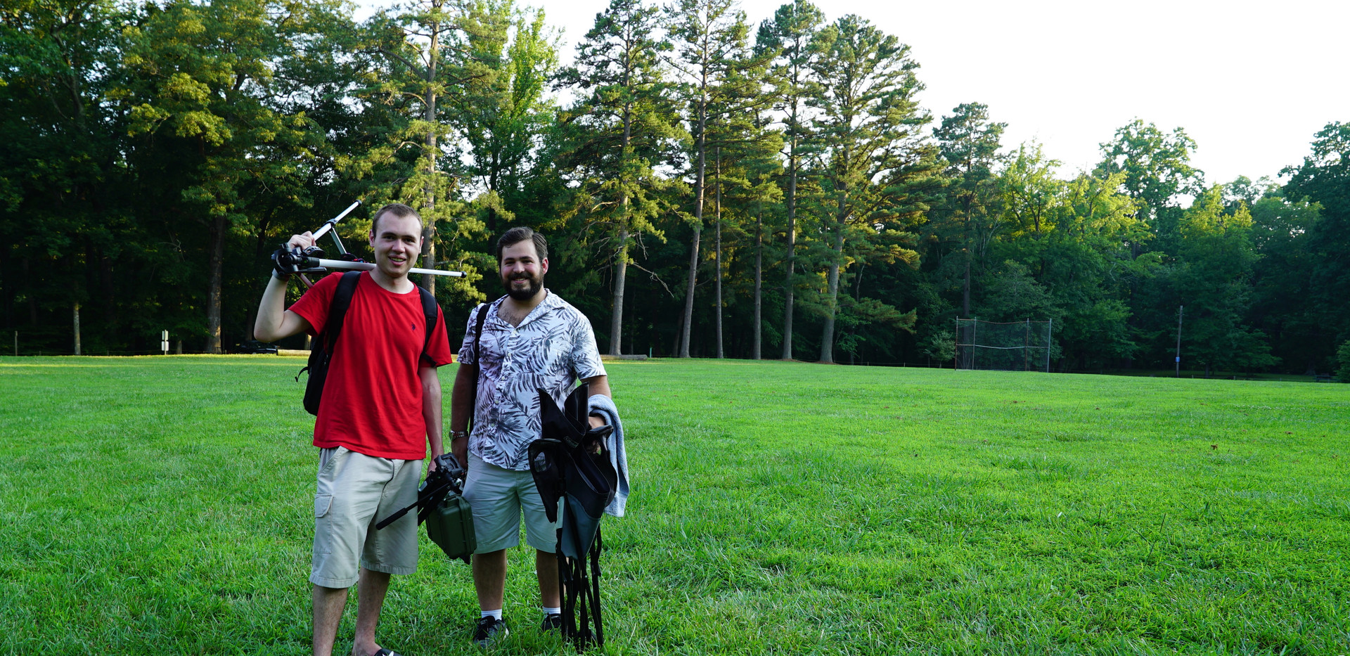 W. Trent Welstead and Jared Hottle, having just wrapped an interview on the set of A Story Revealed.