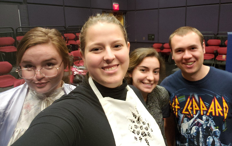 Rehearsals wrapped. From left to right, Sydney Kendrick (Mrs. Tilford), Emma Holland (Agatha), Sarah Hogan (Mary), and W. Trent Welstead (Director).