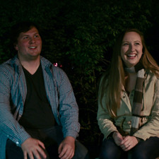 Brendan Daly (Nick) and Caitlyn Murray (Sarah) listening to their direction during the 'Bus Stop' sequence.