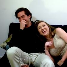Miles Gheesling (Will) and Caitlyn Murray (Sarah) bonding in-between takes.