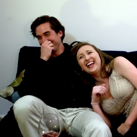 Miles Gheesling (Will) and Caitlyn Murray (Sarah) bonding in-between takes.