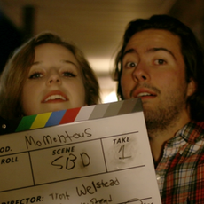 Maggie Gough (Christina) and Thomas Morris (John) kindly assisting with slate duties to help beginning filmmakers.