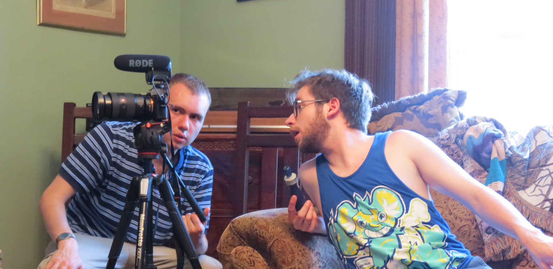 Assessing the composition with Skye King (DP, Producer) on the set of A Story Revealed.