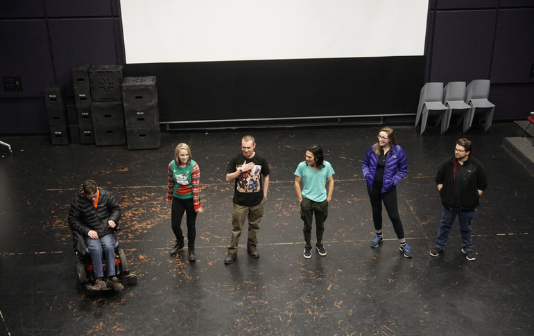 W. Trent Welstead answering questions about Clock-Boy, alongside fellow Virginia Tech filmmakers at the 2017 School of Performing Arts Fall Showcase.