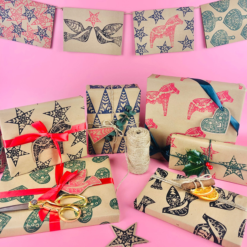 Lino Printed Christmas Cards & Wrap - In Person Workshop