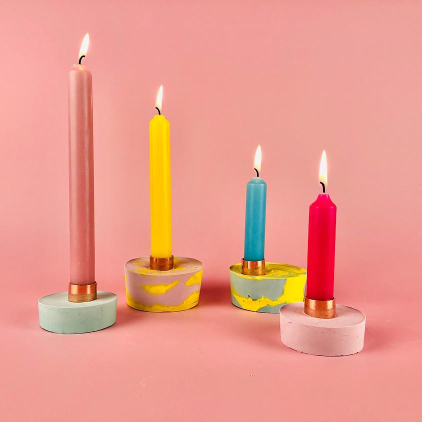 Plaster & Copper Candle Holders Online Workshop