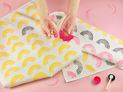 Lino Printed Rainbow Tea Towel Kit