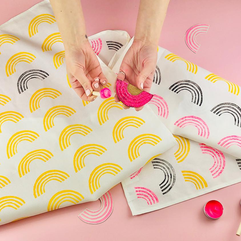 Lino Printed Rainbow Tea Towels Online Workshop