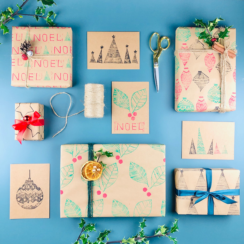 Lino Printed Christmas Cards & Wrap - Online Workshop