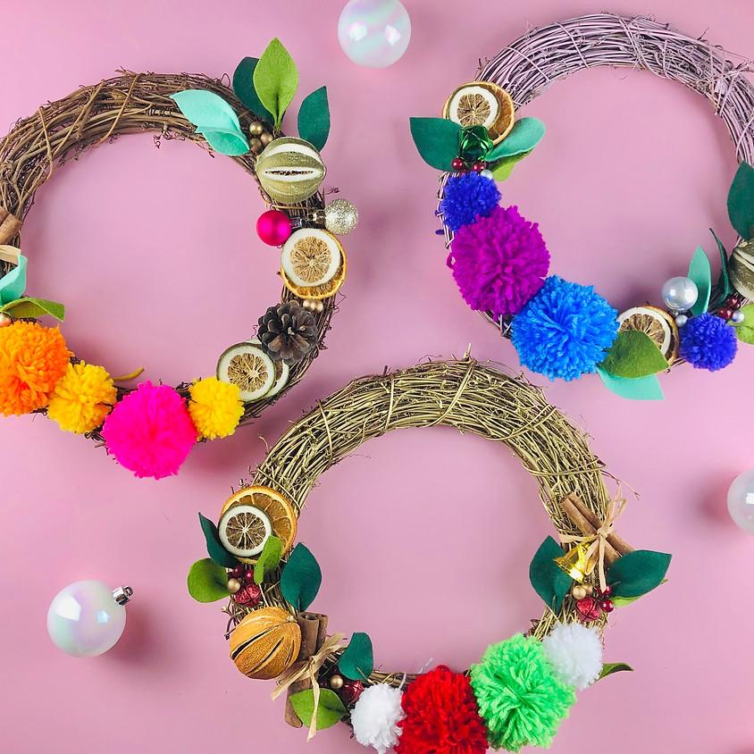 Pom Pom Christmas Wreath - Online Workshop