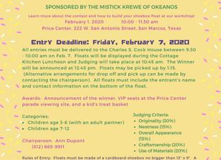 KIDS MARDI GRAS SHOEBOX FLOAT WORKSHOP FEB 1 @ PRICE CENTER
