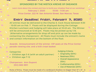 KIDS MARDI GRAS SHOEBOX FLOAT WORKSHOP FEB 1 @ PRICE CENTER