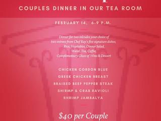 Valentine's Dinner Offered in Tea Room