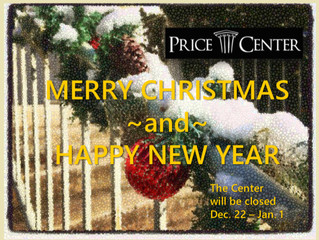 Center will close 12/22 - 1/1 for Holidays