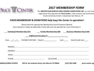 Happy New Year - Time To Renew GSMASA/Price Center Memberships