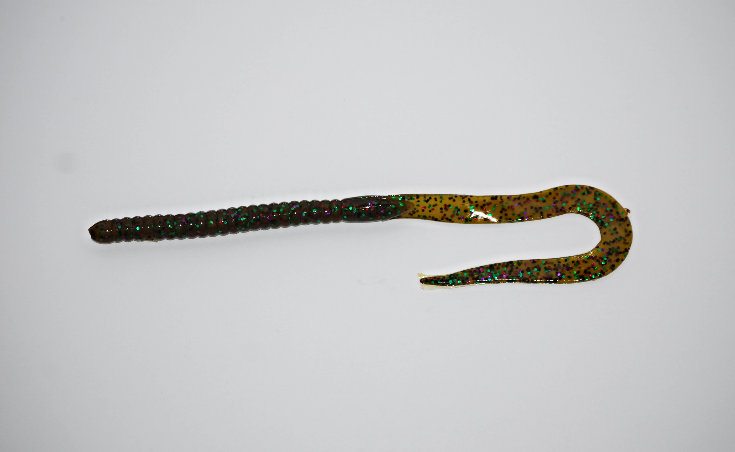 """""""Green Pumpkin Purple"""" 10.5"""" Ribbon Tail Worm"""