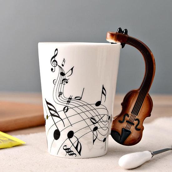 Violin Mug Music Notes 400ml