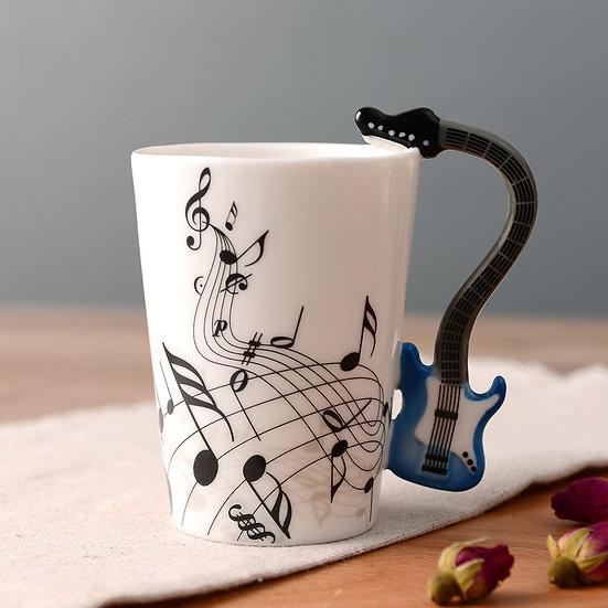 Blue Electric Guitar 400ml Mug- Music Notes
