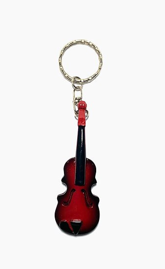 Handcrafted Brown Violin Keychain