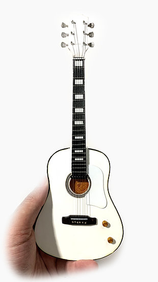 Gibson White Acoustic Handcrafted Guitar Miniature