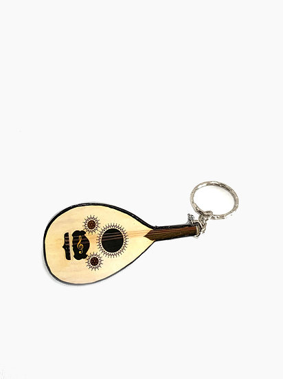 Handcrafted Oud Keychain Decorated with Treble Clef