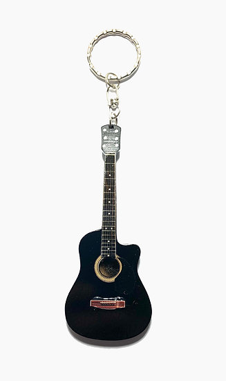 Handcrafted Black Acoustic Guitar Keychain