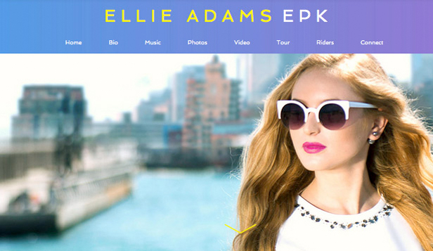 Promoción musical website templates – EPK cantante pop