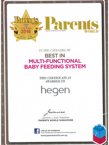Parents World 2016 Certificate