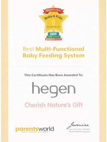 Parents World 2018 Certificate