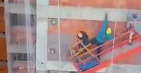 Trabalhadores vivem momento de aflição após cabo de andaime romper em Santa Maria