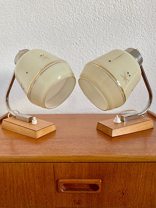 A pair of two retro table lamps