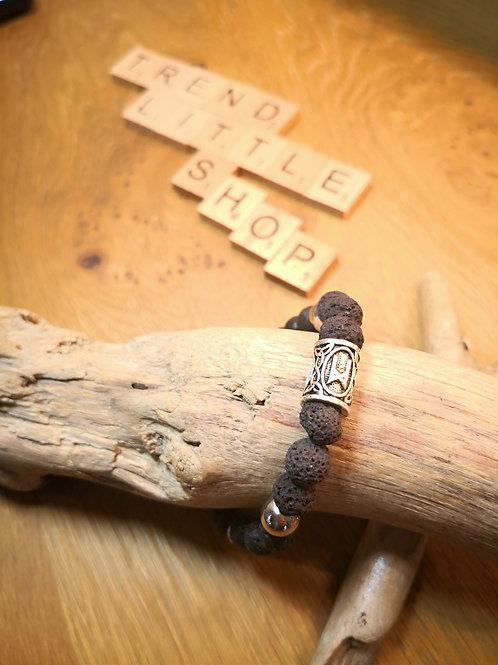 Viking silver and lava pearl bracelet