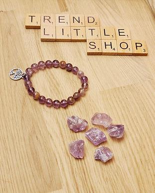 lithothérapie pierre brute et bracelet AMETHYSTE