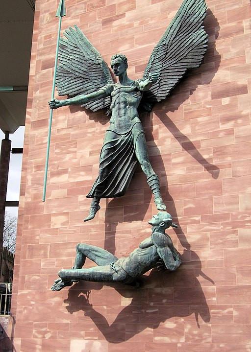 Archangel St Michael, triumphant over the Devil, in Jacob Epstein's bronze statue
