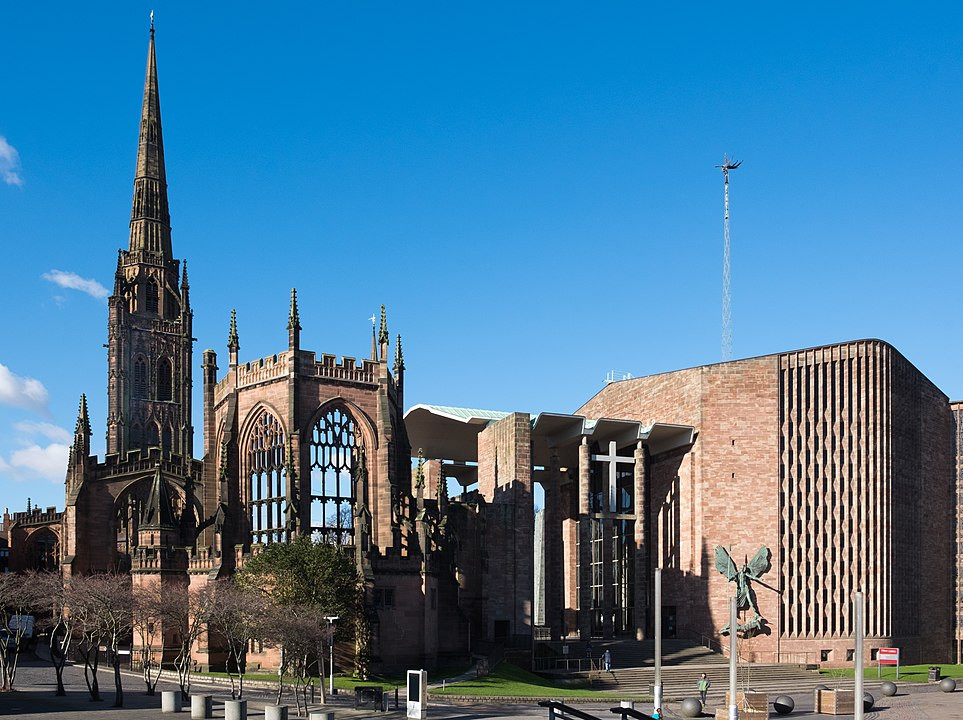 The shattered ruins of 14h Century Coventry Cathedral, alongside the modernist hulk of the 1960s building