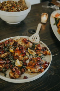 Thyme Roasted Chicken Thighs w/Honey Balsamic Glaze & Blistered Thomcord Grapes