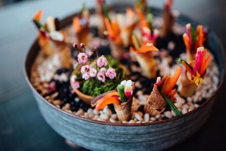 garden crudite w/white bean & bacon hummus, sesame cone , edible flower